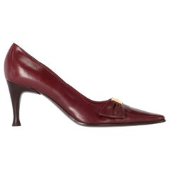 2000s Sergio Rossi Burgundy Leather Pumps