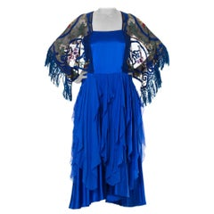 MORPHEW COLLECTION Blue Silk Charmeuse  & Chiffon Dress With Antique Lace Sleev