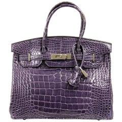 2000s Sirni Purple Crocodile Leather Bag