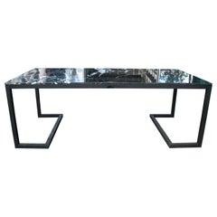 2000s Spanish Iron Table with Marquina Black Marble Top