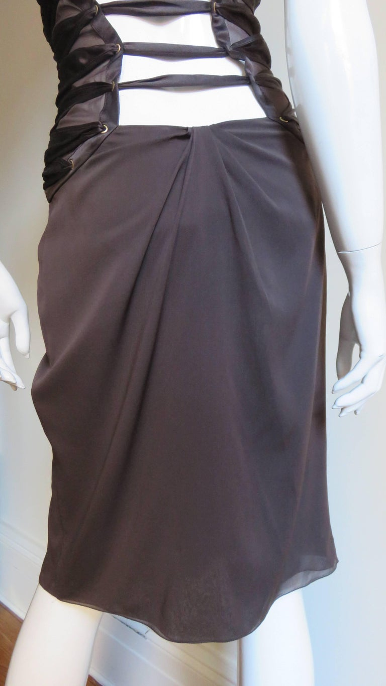 2000s Tom Ford for Gucci Brown Silk Plunge Halter Dress For Sale 6