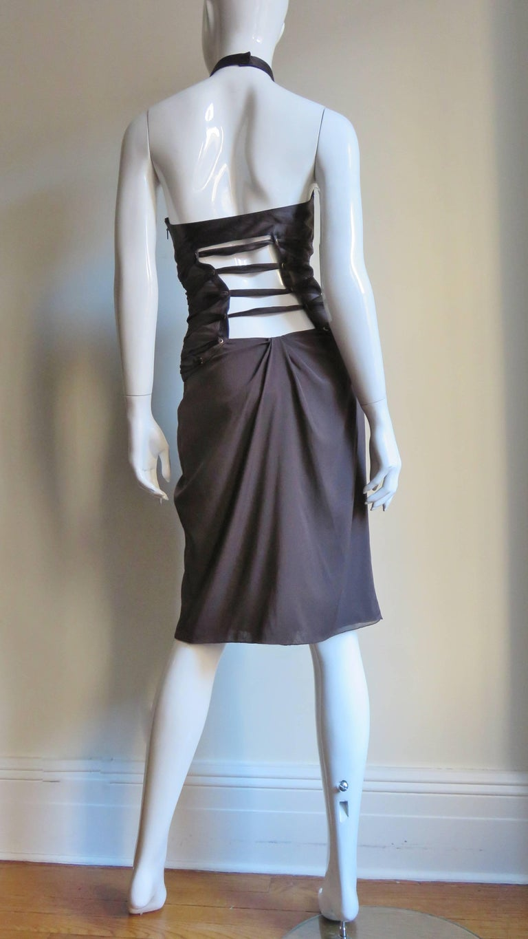 2000s Tom Ford for Gucci Brown Silk Plunge Halter Dress For Sale 7