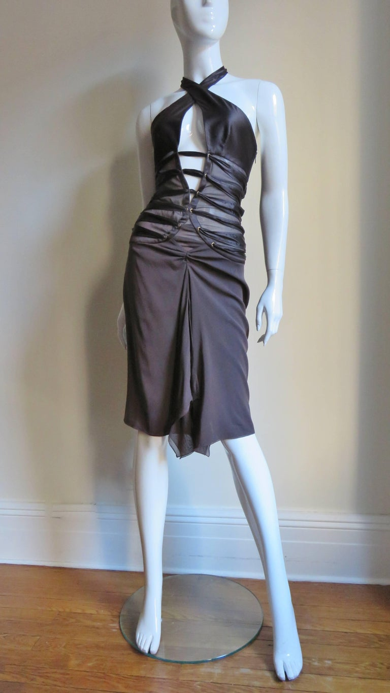 2000s Tom Ford for Gucci Brown Silk Plunge Halter Dress For Sale 3