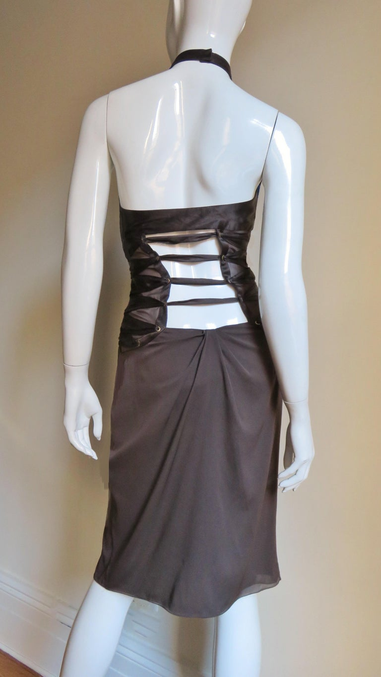 2000s Tom Ford for Gucci Brown Silk Plunge Halter Dress For Sale 4