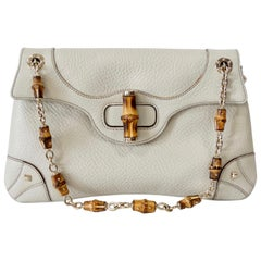 2000s Tom Ford For Gucci Cream Pebbled Leather Bamboo Shoulder Bag