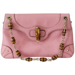 2000s Tom Ford For Gucci Pebbled Leather Bamboo Shoulder Bag