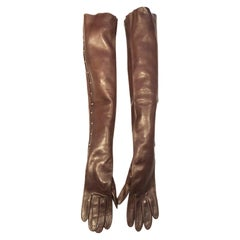2000s Tom Ford for Gucci Runway Brown Leather Stud Elbow Gloves