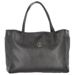 2000s Trussardi Black Leather Tote Bag