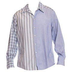 2000S VERSACE Blue & White Cotton Plaid Striped Patchwork Men's Shirt