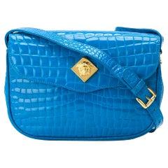 2000s Versace Cerulean Crocodile Leather Bag