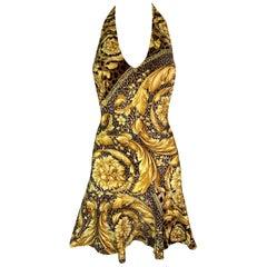 2000's Versace Gold Baroque Animal Print V-Neck Skater Mini Dress