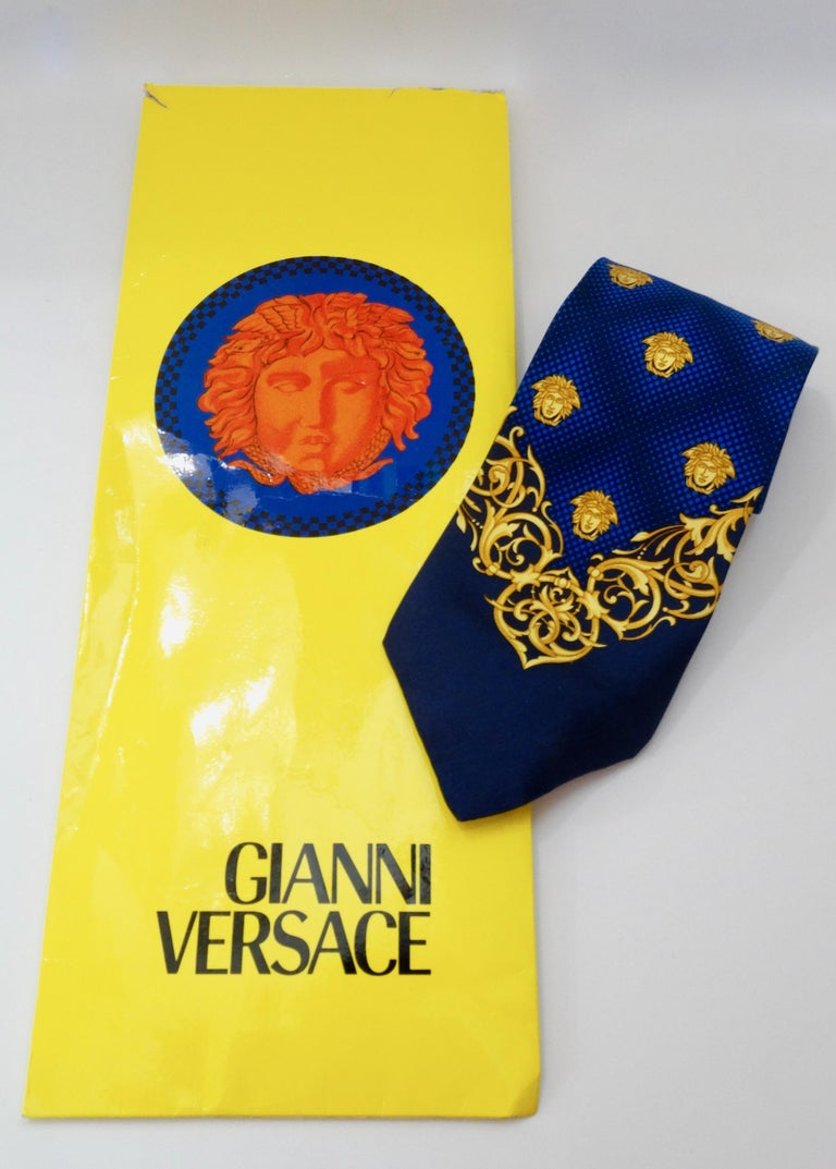 Women's or Men's 2000s Versace Medusa Head Silk Tie For Sale