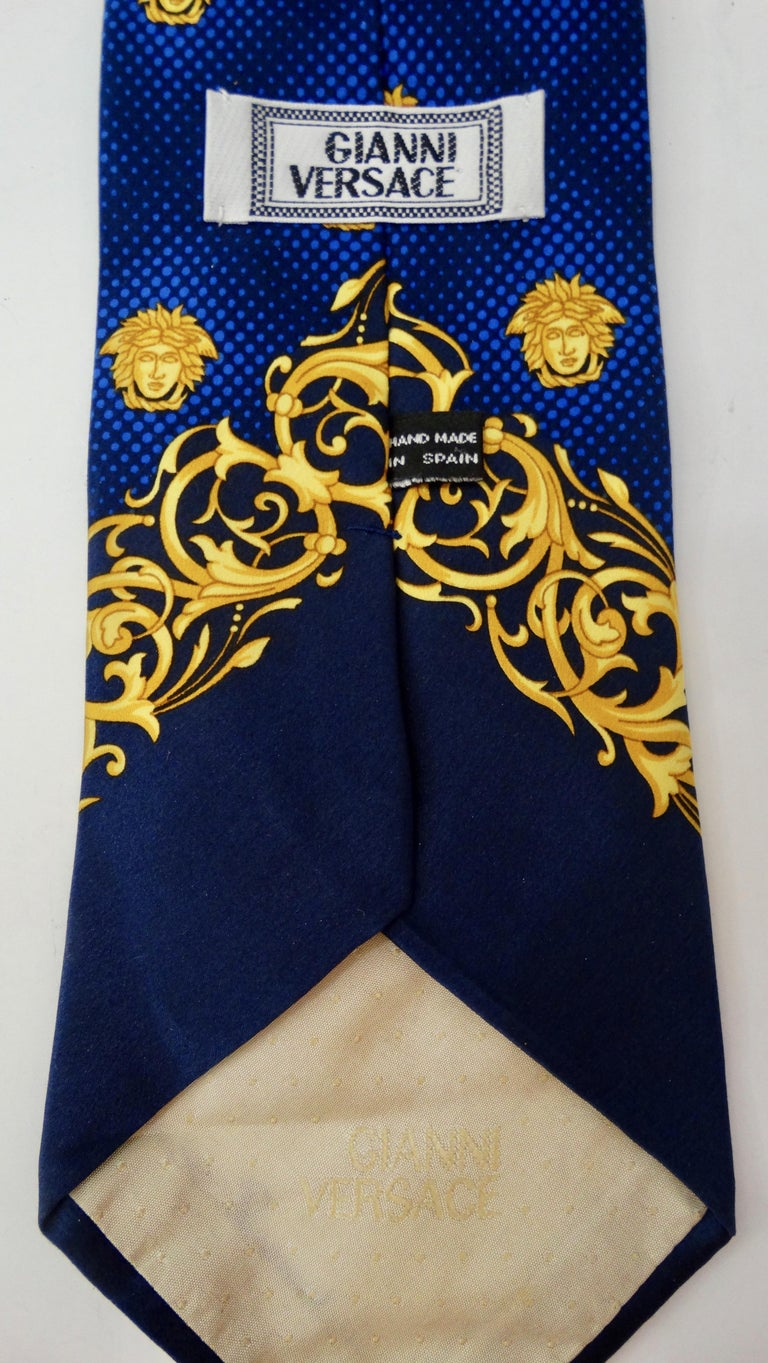2000s Versace Medusa Head Silk Tie For Sale 1