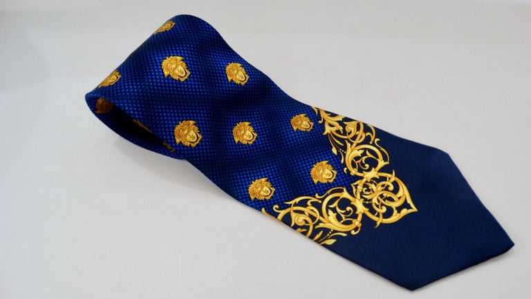 2000s Versace Medusa Head Silk Tie For Sale 2