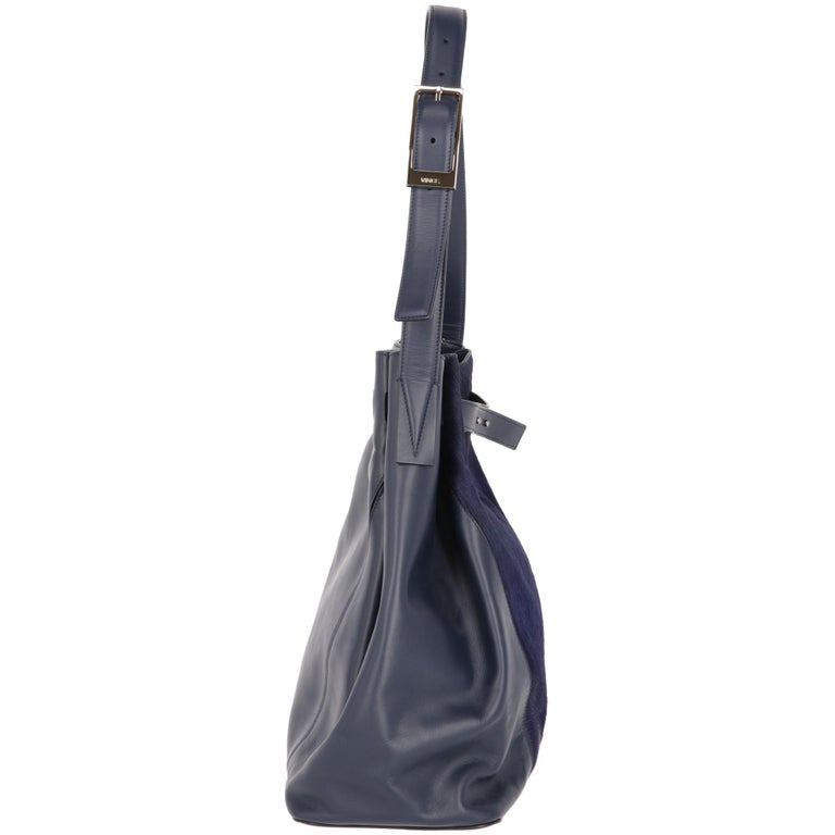2000s Vince Blue Calf Hair Bag For Sale 3