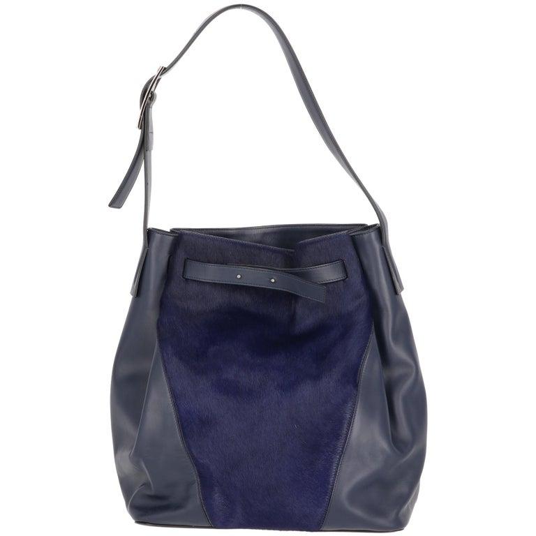 2000s Vince Blue Calf Hair Bag For Sale 4