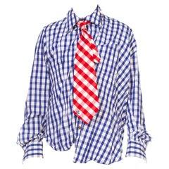"2000S Vivienne Westwood Blue & White Striped Cotton Plaid ""Drunken"" Shirt With"