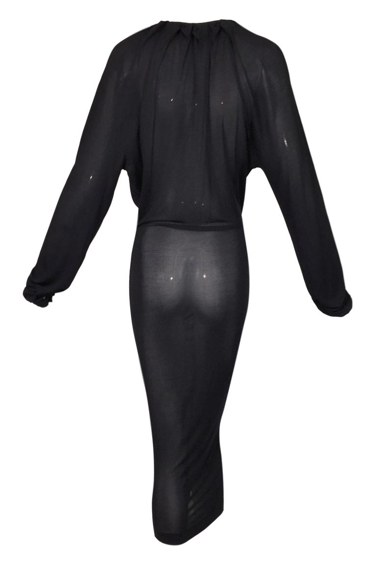 2000's Yves Saint Laurent by Tom Ford Plunging Sheer Black Knit Dress In Good Condition In Yukon, OK
