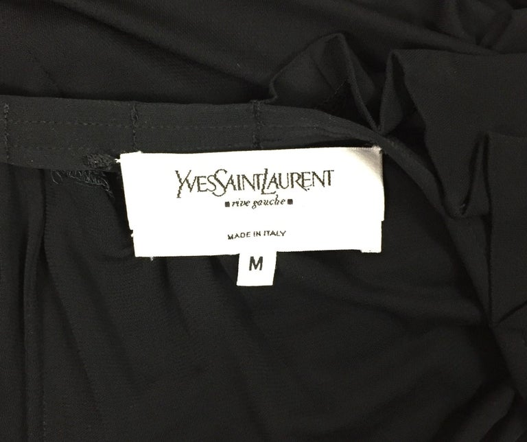 Women's 2000's Yves Saint Laurent by Tom Ford Plunging Sheer Black Knit Dress