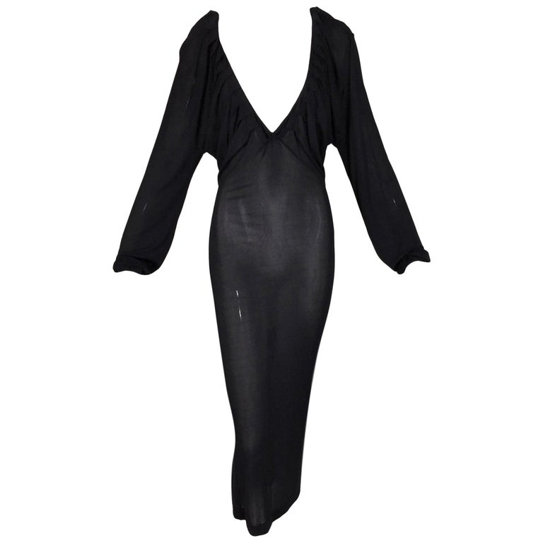 2000's Yves Saint Laurent by Tom Ford Plunging Sheer Black Knit Dress