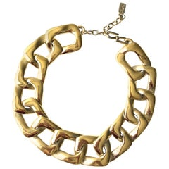 2000s Yves Saint Laurent gold tone square chain necklace
