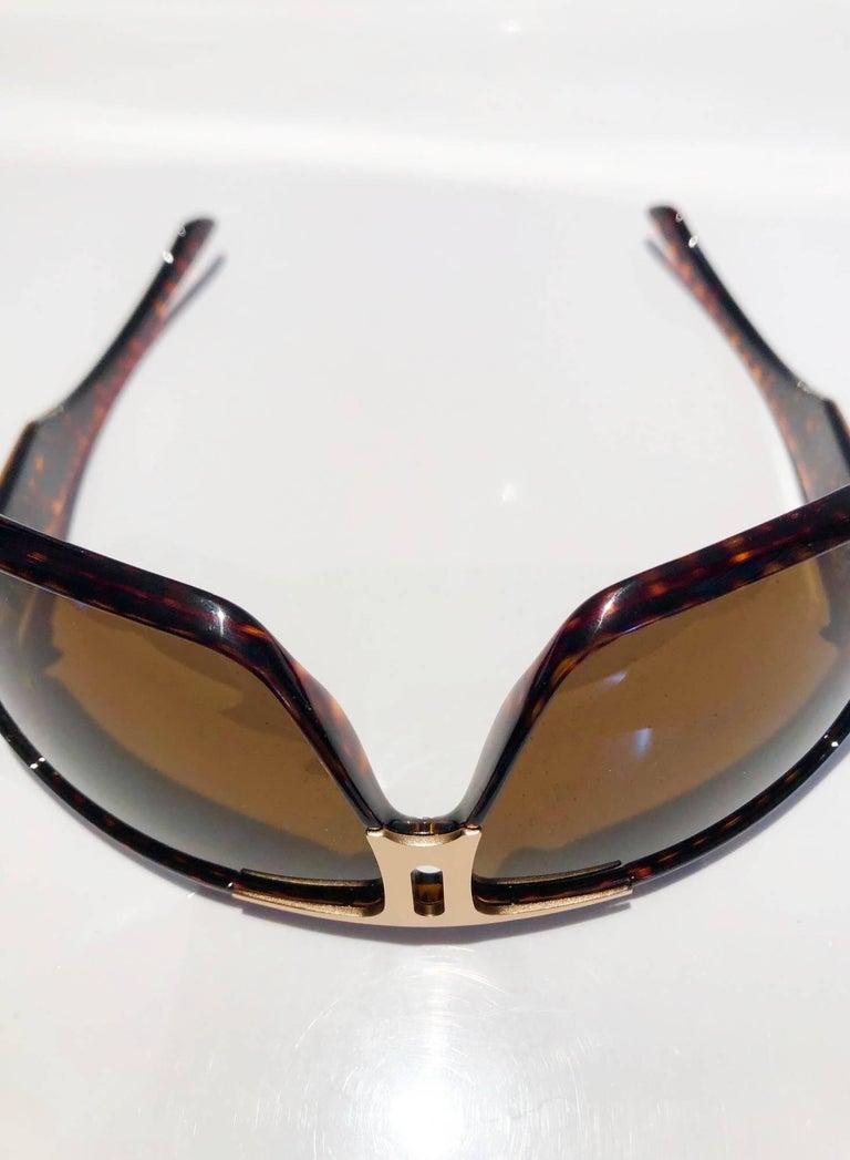 2000s Yves Saint Laurent Havana Brown 2199/s Mask Sunglasses  For Sale 1