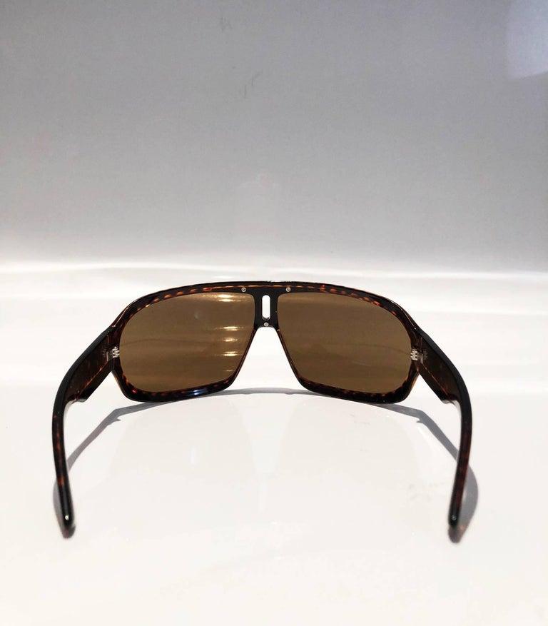 2000s Yves Saint Laurent Havana Brown 2199/s Mask Sunglasses  For Sale 2