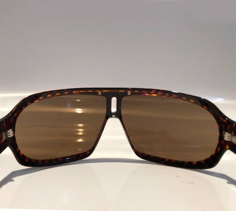 2000s Yves Saint Laurent Havana Brown 2199/s Mask Sunglasses  For Sale 5
