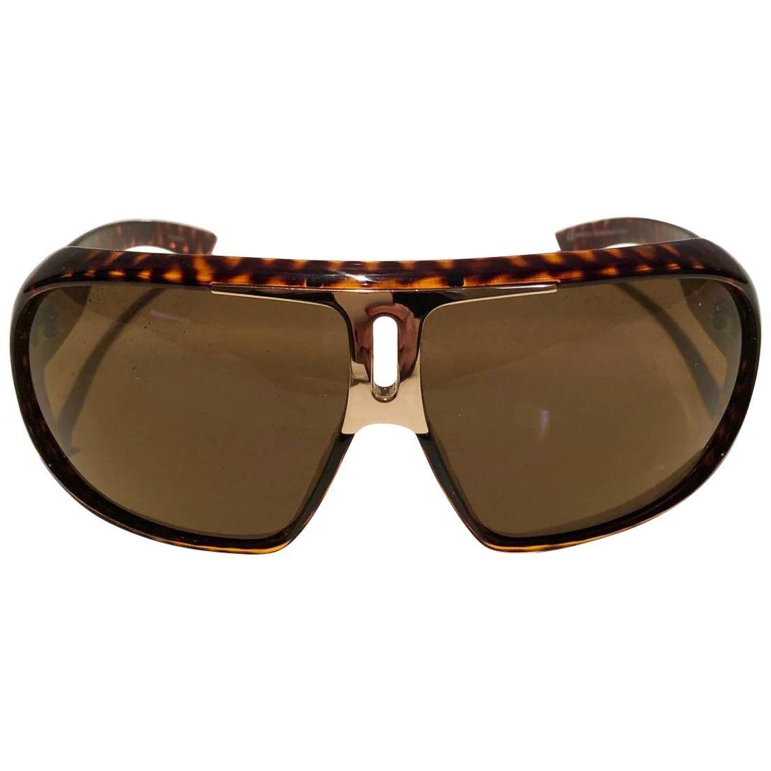2000s Yves Saint Laurent Havana Brown 2199/s Mask Sunglasses