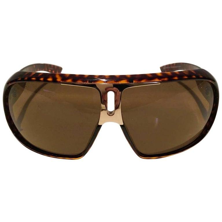 2000s Yves Saint Laurent Havana Brown 2199/s Mask Sunglasses  For Sale