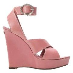 2000s Yves Saint Laurent Pink Wedges Sandals