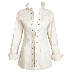 2000s Yves Saint Laurent White Cotton Safari Jacket