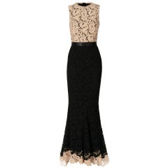 2000s Zuhair Murad Black Lace Mermaid Dress