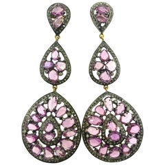 20.01 Carat Pink Sapphire, Diamond Earring Oxidized Sterling Silver, 14K Gold