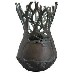 2001 Carol Alleman Organic Midcentury Bronze Vase Vessel Sculpture Limited 75