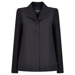 2001 Chanel Black Blazer With CC Button Detail