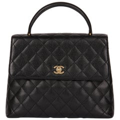 2001 Chanel Black Quilted Caviar Leather Classic Kelly