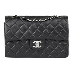 2001 Chanel Black Quilted Lambskin Small Classic Double Flap Bag