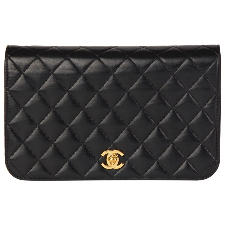 2001 Chanel Black Quilted Lambskin Vintage Classic Single Full Flap Bag  For Sale