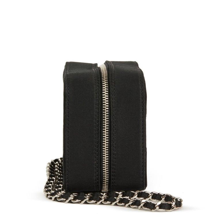 2001 Chanel Black Quilted Satin Mini Timeless Wristlet In Excellent Condition For Sale In Bishop's Stortford, Hertfordshire