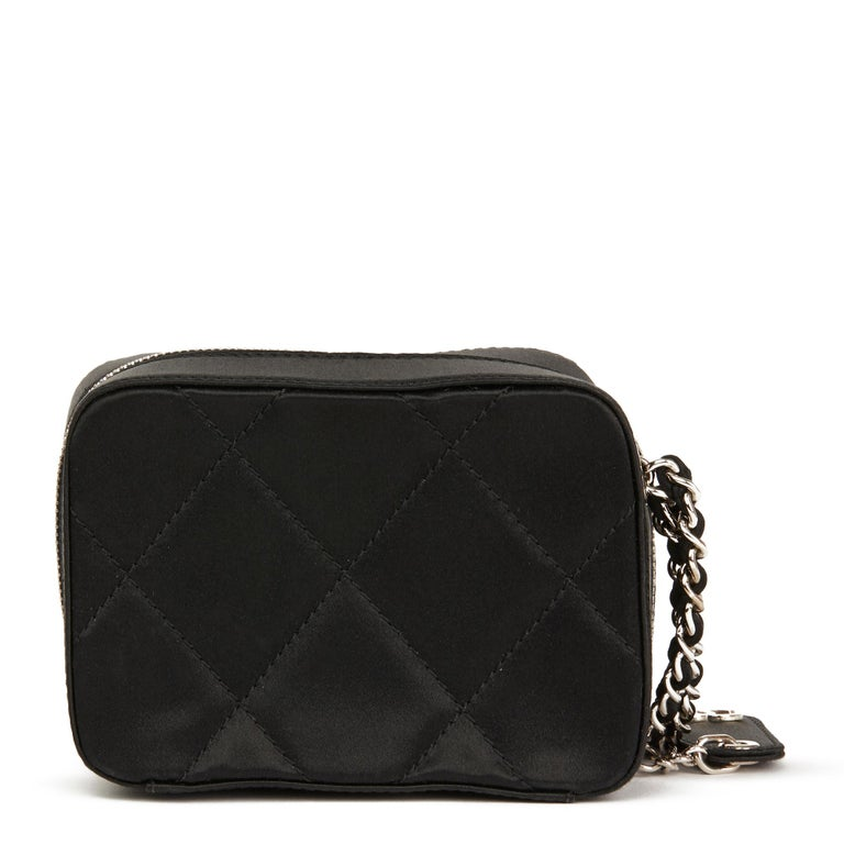 Women's 2001 Chanel Black Quilted Satin Mini Timeless Wristlet For Sale