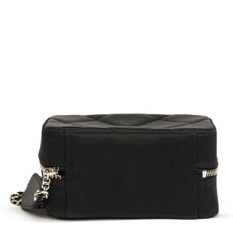 2001 Chanel Black Quilted Satin Mini Timeless Wristlet For Sale 1