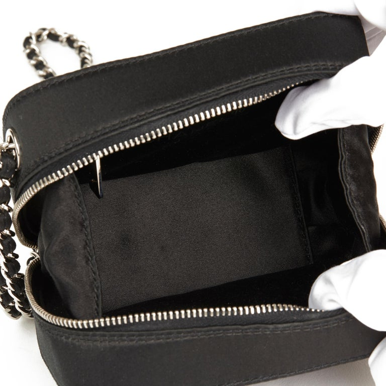 2001 Chanel Black Quilted Satin Mini Timeless Wristlet For Sale 4