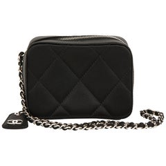 2001 Chanel Black Quilted Satin Mini Timeless Wristlet