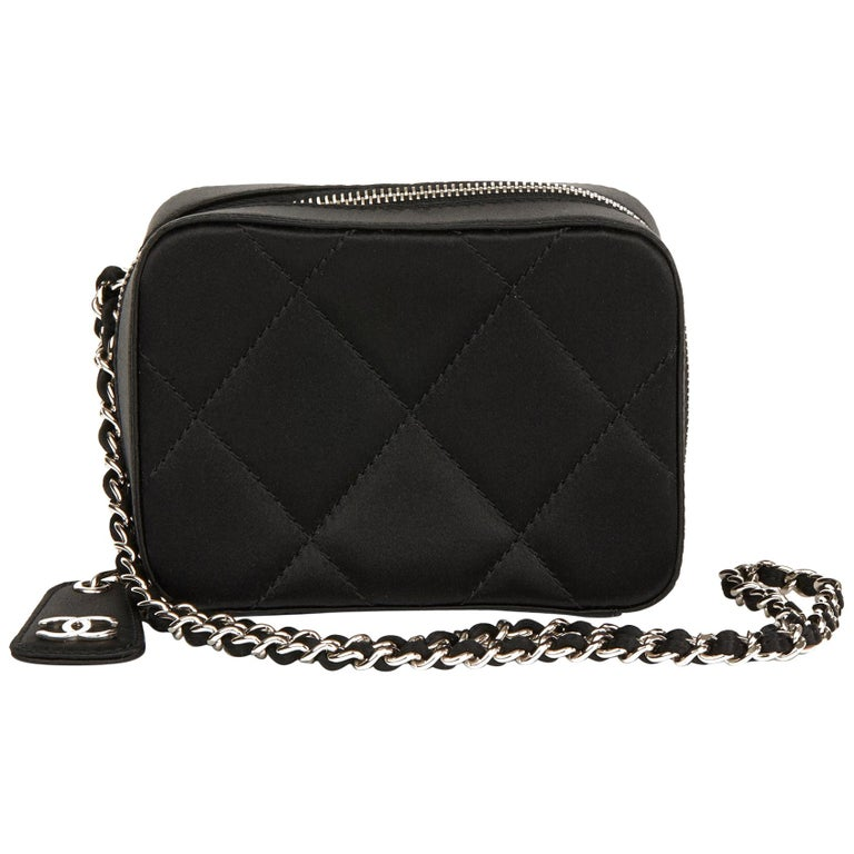 2001 Chanel Black Quilted Satin Mini Timeless Wristlet For Sale