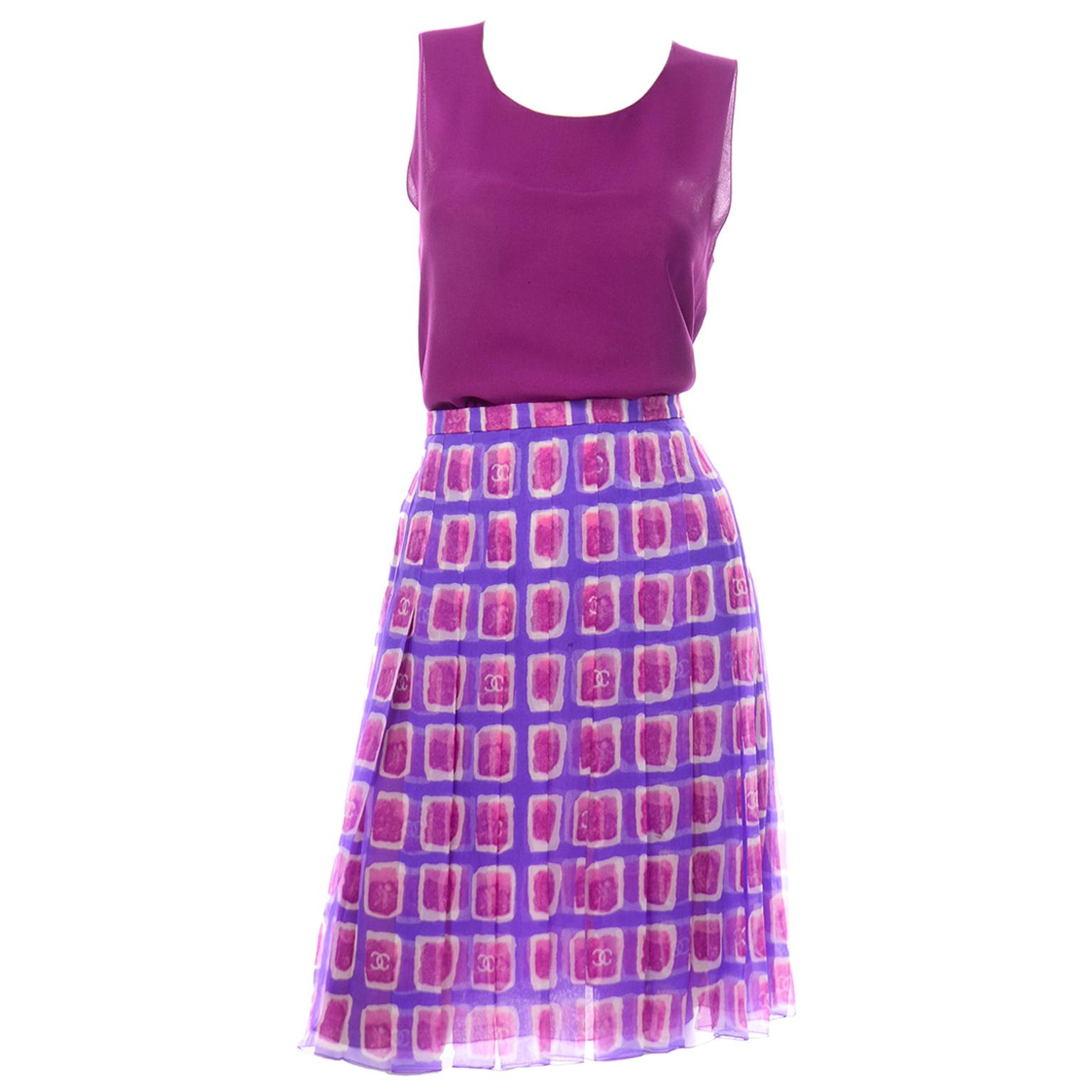 2001 Chanel CC Logo Monogram Purple & Raspberry Pink Silk Skirt W Sleeveless Top