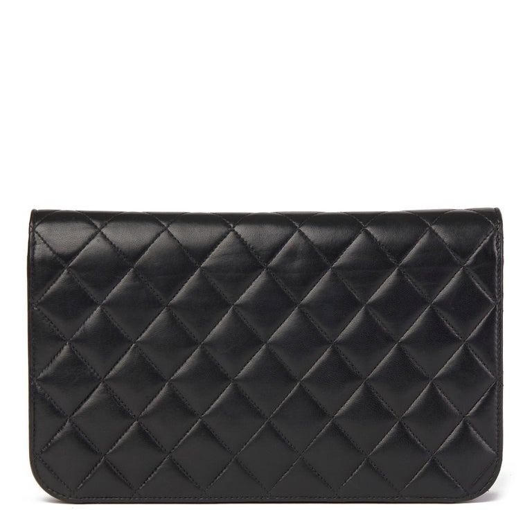 2001 Chanel Black Quilted Lambskin Vintage Classic Single Full Flap Bag  For Sale 1