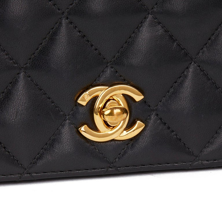 2001 Chanel Black Quilted Lambskin Vintage Classic Single Full Flap Bag  For Sale 3
