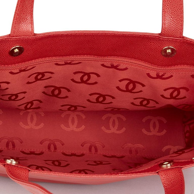 2001 Chanel Red Caviar Leather Timeless Tote For Sale 6