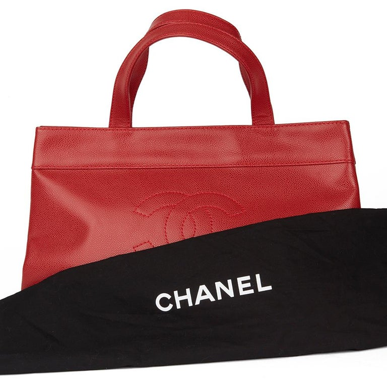 2001 Chanel Red Caviar Leather Timeless Tote For Sale 7